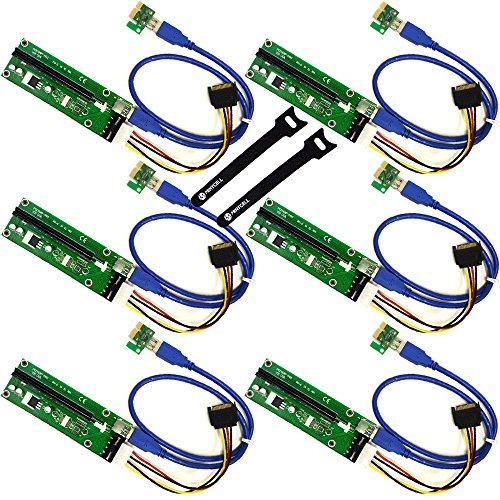 MintCell 6-Pack PCIe 4-Pin MOLEX PCI-E 16x to 1x Powered Riser Adapter Card w/ 60cm USB 3.0 Extension Cable & MOLEX to SATA Power Cable – GPU Riser Adapter Ethereum Mining ETH + 2 MintCell Cable Ties