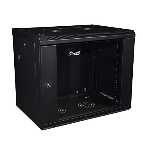 Rosewill Professional 9U Wall mount Cabinet Enclosure 19-Inch Server Network Rack With Locking Glass Door 16-Inches Deep Black (RSWM-9U001)