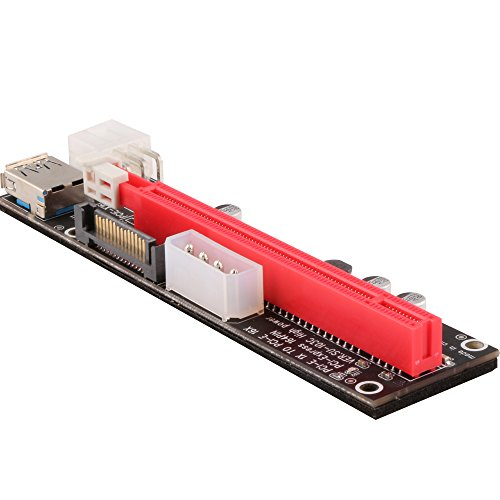 Ubit 6 Pack Latest PCI-E Riser Express Cable 16X TO 1X (6pin / MOLEX / SATA) With Led Graphics Extension Ethereum ETH Mining Powered Riser Adapter Card+60cm USB 3.0 Cable